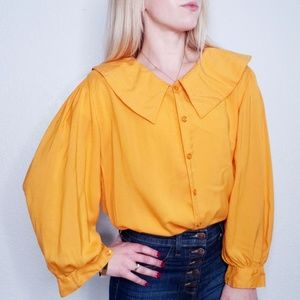 80-90s Vintage Mustard Button Down Oversized Top